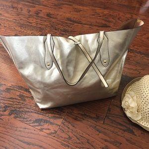 Boston Proper Gold Metallic Large Tote Bag